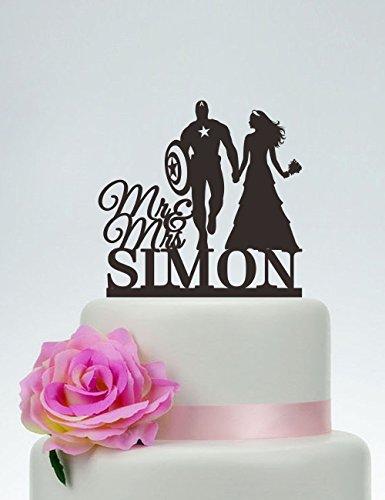 n America für Hochzeitstorte, Mr and Mrs, mit Nachnamen, Kuchendekoration, Superhelden-Kuchenaufsatz ()
