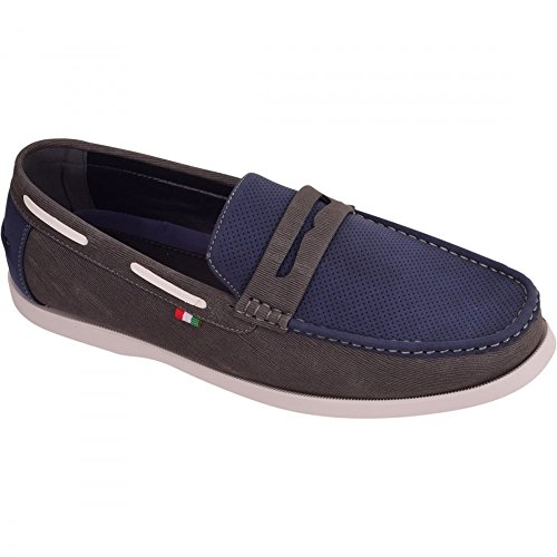 Mens Italian Slip On Casual Loafers Moccasins Driving Boat Deck Shoes Size 12 13 14 15 13 UK Navy Grey