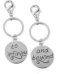 """Lux Accessories - Juego de 2 llaveros con inscripción gravada en inglés """"To infinity"""" y """"& beyond"""""""