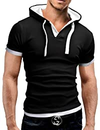 MERISH Homme T-Shirt à capuche Slim Fit manches courtes 2in1 contrasté Shirt Modell 09