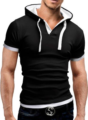 MERISH Kurzarm Hoodie T-Shirt Herren Slim Fit Modell 09 Schwarz/Weiß