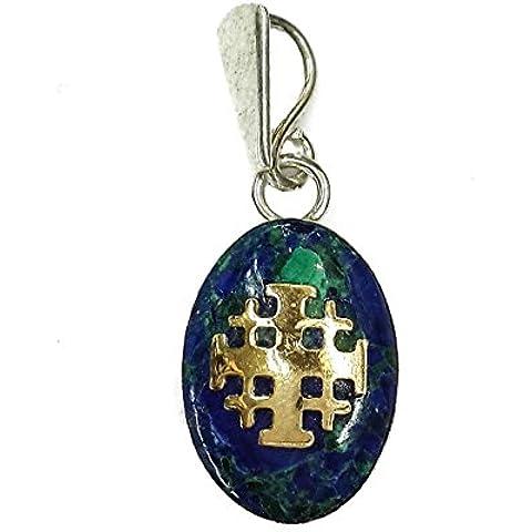 Pietra di Eilat unica King Solomon ciondolo in argento 925 oro 14k Croce di Gerusalemme 1