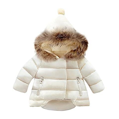 Sunenjoy Bébé Filles Garçons Manteau Automne Hiver Épais Chaud Bas Veste Enfants Vêtements pour Enfants 1 2 3 4 5 ans (18 mois, blanc)