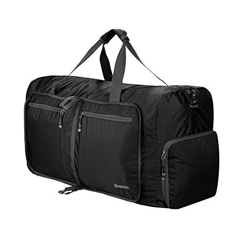 homodox faltbar Duffle Tasche, extra groß extra stark, Aufbewahrungstasche, Shopping und Reisetasche, 80L - Black - 2 Pfund Würfel