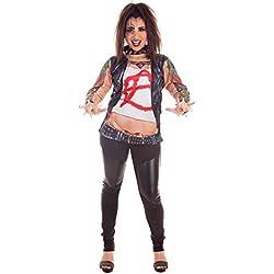 Creaciones Llopis Kit de Rockera para Mujer: Camiseta, Collar, Pulseras y Kit de Tatuaje