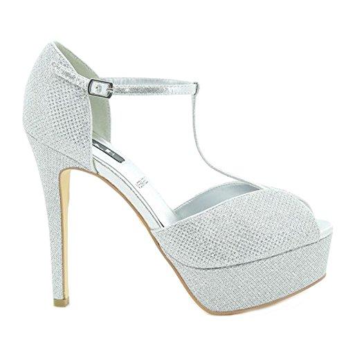 Toocool - Chaussures Femme Sandales Plateau Talon Haut T-bar Silver Queen Helena S2413sl Silver
