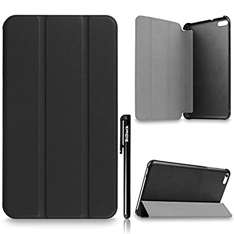 For Huawei MediaPad T1 7.0 701U Cover, BtDuck Simple And Luxurious Leather Case Business Style Shell Gray lining Flip Folio Book Style Version with Built-in Stand Holder and Front / Back Protection Ultra Slim Lightweight Case Stable Triangular Structure ( Color : Black