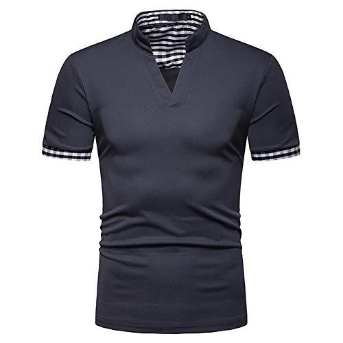 Herr Show Shirt (Showu Herren Poloshirts Stehkragen Polo Shirt Kurzarm Einfarbig Sommer T-Shirt)