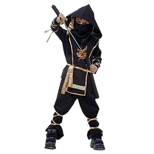 kinder Kampfsport Ninja Maskenkostüm Cobra Dragon Ninja Kämpfer Ages 4-12 - Gold, 4-6 (Kostüme Cobra Ninja)