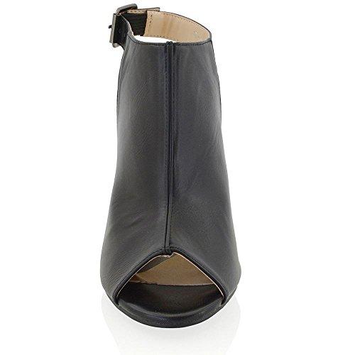 Essex Glam Stivale Donna Sintetico Open Back Peep Toe Cintrurino Caviglia Nero Pelle sintetica