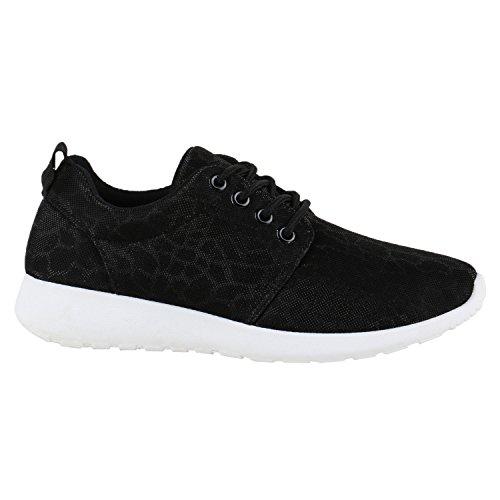 Damen Sportschuhe   Übergrößen   Trendfarben Runners   Sneakers Laufschuhe   Fitness Prints Schwarz Glitzer