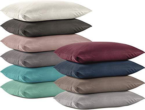 Niceprice Doppelpack Jersey Kissenbezüge Kissenhüllen mit Reißverschluss aus 100% Baumwolle in 4 Größen und 10 Farben, 40x40 cm Taupe