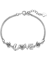 Women Fashion 925 Silver Plated Link Bracelet Cubic Zirconia Love Bracelet Jewelry Ladies Girls
