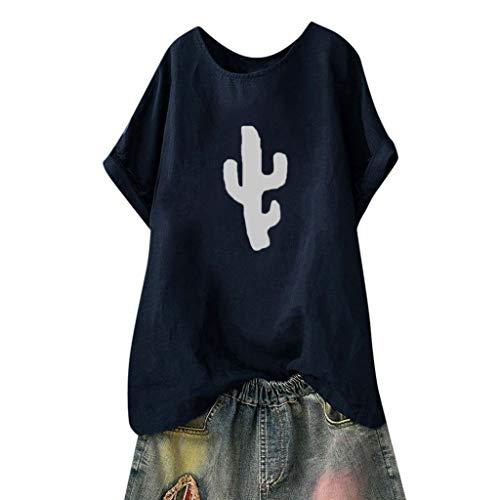 Kviklo Deman Plus Size T-Shirt Top Fish BoneCactus Druck Mode Einfarbig Loose Bluse Oversize(50,Marine-Kaktus) (Vorne Rollstuhl Räder)
