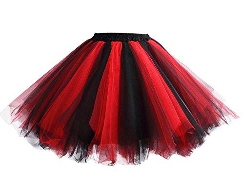 Facent Damen Kurz Tutu Rock Tüllrock Tütü Crinoline Minirock Reifrock Unterrock Kleid Tüll Schwarz Rot