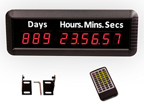 "Preisvergleich Produktbild EU 9Digits 1"" LED Days Countdown CountUP and Clock Red Color 999 Days with Hours Minutes Seconds IR Remote Control Aluminum Casese"