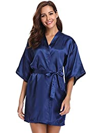 b1d177f2db Vlazom Womens Kimono Robes Dressing Gown Satin Bathrobe Nightdress Pure  Colour Short Style with…