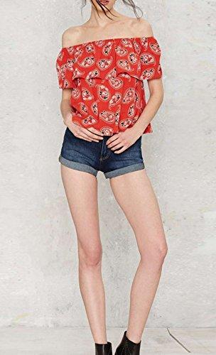 Bigood Bustier Femme T-shirt Epaule Nue Chemisier Imprimé Manches Courtes Chic Rouge