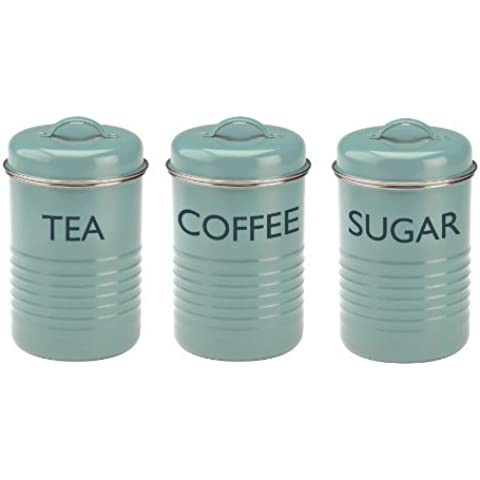 Typhoon Vintage Summer House Blue Tea Coffee Sugar Tins by Typhoon