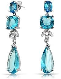 Bling Jewelry Color topacio Azul Lágrima CZ CZ Novia Plaza arete candelabro