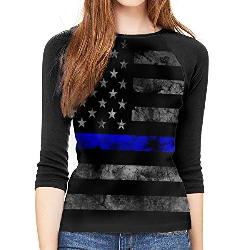 Henrnt Damen Bluse 3/4 Arm T-Shirt Bluse Top Blue Thin Line Us Flag Print T-Shirt Casual Crew Neck Tops Tee