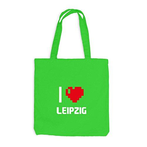 Jutebeutel - Io Amo Leipzig - Germania Viaggio Cuore Cuore Pixel Verde Chiaro