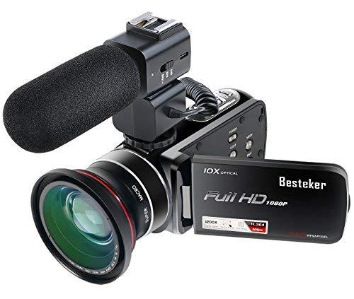 Caméscope Full HD 1080p 30FPS Besteker Caméra Vidéo Numérique Portable Avec Microphone Externe et Objectif à Grand Angle Externe 24MP Zoom Optique 10X et Zoom Numérique 120X
