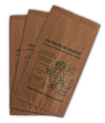 400 Bioabfalltüten Papier braun 9,5 l Biomülltüten Kompostbeutel Mülltüten Müllbeutel Bio 20 + 16 x 36 cm