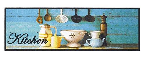 Küchenläufer Küchenmatte Dekoläufer Fußmatte Küchenteppich für Küche Teppich Läufer waschbare Küchendeko COOK & WASH blau Kitchen Dekoration Kochgeschirr Größe 50 x 150 cm Maschinen waschbar