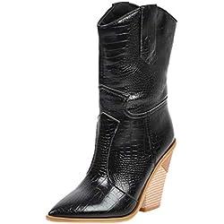 Botas de Mujer Invierno Tacón Alto Ancho Piel Sintético PAOLIAN Botines Media Caña Otoño Botas Mujer Tacon Cuadrado Cuña Zapatos de Mujer Fiesta Vestir Elegantes con Forro de Felpa Corta