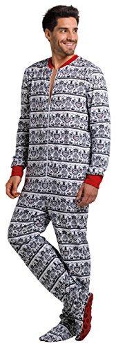 Gaggohaas Füssli-Pyjama Schlafanzug mit Füssen Unisex Scherenschnitt Rot/Weiß (M)