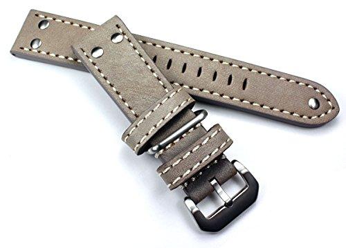 26 mm schlamm PILOT FLIEGER AVIATOR Military Style Robust BAND echt genuine Leder Uhrenarmband AW NATO mit Nieten