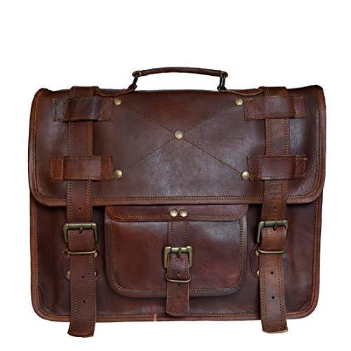 Mad Over Shopping, Herren Vintage Messenger Laptop Umhängetasche aus echtem Ziegenleder Büro Business Taschen Dokument Aktentasche