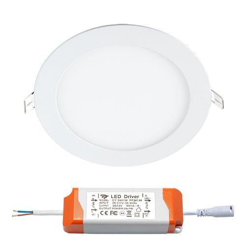 Panneau LED - Idéal pour éclairage intérieur - Plafonnier/Plafonnier encastrable/Plafonnier/Couverture Panel//lampe/ampoules/Panel | encastré rond/UltraSlim Plat/230 V/IP44/24 W/Blanc chaud
