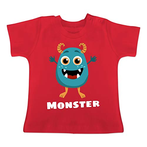 Partner-Look Familie Baby - Monster Partner-Look Kind - 1-3 Monate - Rot - BZ02 - Baby T-Shirt Kurzarm
