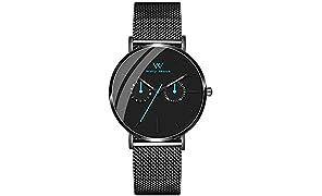 Welly Merck Herren-Armbanduhr Analog Schweizer Quarz Edelstahl Uhrenarmband (Black-Mesh)