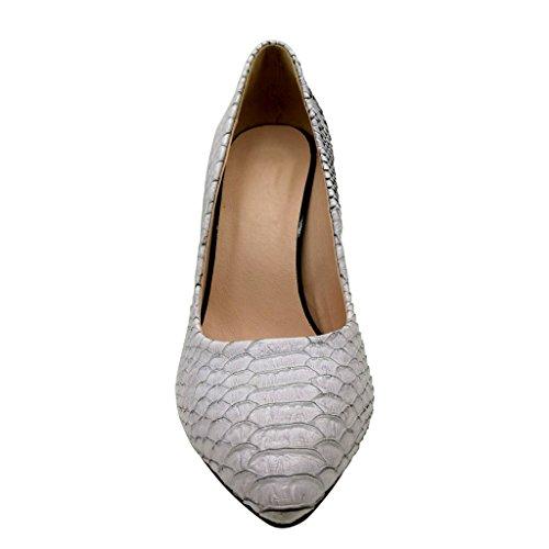 EDEFS Damen Chucky Heel Schuhe Blockabsatz Spitze Kleid-Partei Pumps mit Animal Print Weiß