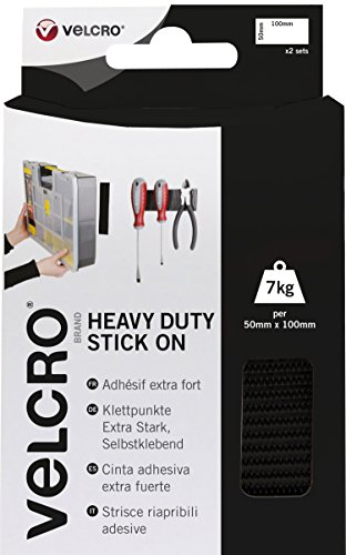 Velcro EC60239 Strisce Ripartibili Adesive Extra-Strong, 50 mm x 10 cm, 2 Set, Nero