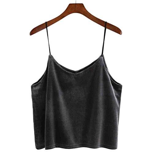 Manadlian T-Shirt Femmes, Shirt Femmes 2017 Camisole de Velours v-Neck Gilet Bandage Dos Gris