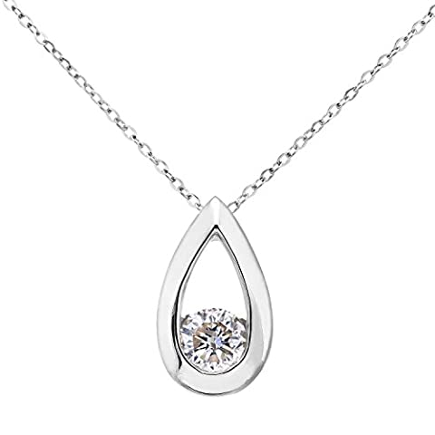 Naava Women's 9 ct White Gold Third Carat Diamond Teardrop Pendant and Chain of 46 cm