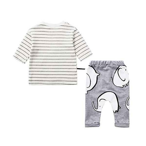 LZH Toddler Baby Boys 2Pcs Conjunto de Ropa de Manga Larga con Estampado de Elefante Tops para bebés Pantalones Trajes… 2
