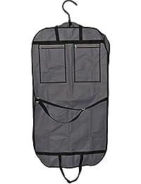 Smartek 43-inch Foldover transpirable bolsa de ropa con asas y frontal de Vinilo Ventana), color negro/gray, 2bolsillos con cremallera externo para almacenamiento adicional