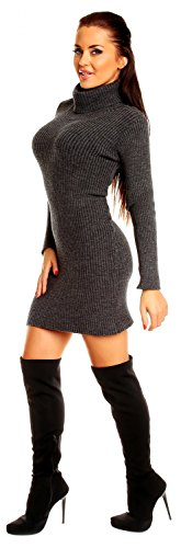 Zeta Ville - Vestito dolcevita maglia a coste aderente - collo alto - Donna 417z Grafite