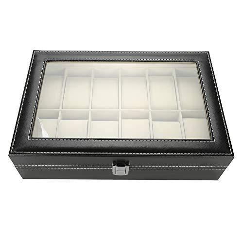 12 rejillas Caja de presentación de reloj de cuero de PU,Caja de almacenamiento de reloj,...
