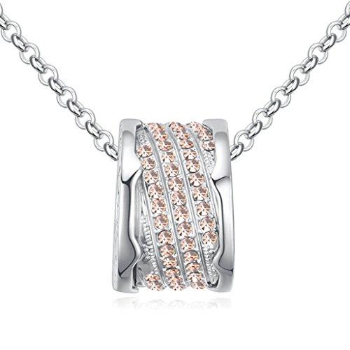 Epinki Damen Halskette, Vergoldet Frauen Anhänger Halskette Round Ring mit Zirkonia Sweater Kette Light Pink
