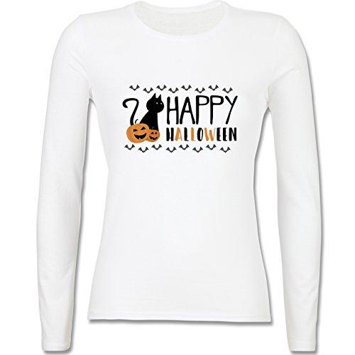 Halloween - Happy Halloween - tailliertes Longsleeve / langärmeliges T-Shirt für Damen Weiß
