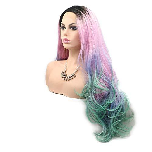 Pelucas de sirena 4 tonos arco iris color/raíz oscura azul púrpura encaje frontal peluca de fibra...