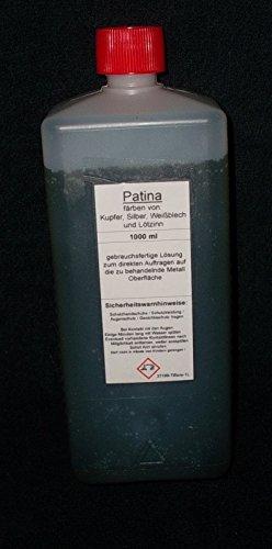 1000 ml Tiffany Patina zum schwarz beizen (künstlich altern) von Kupfer, Silber, Weißblech, Lötzinn geeignet