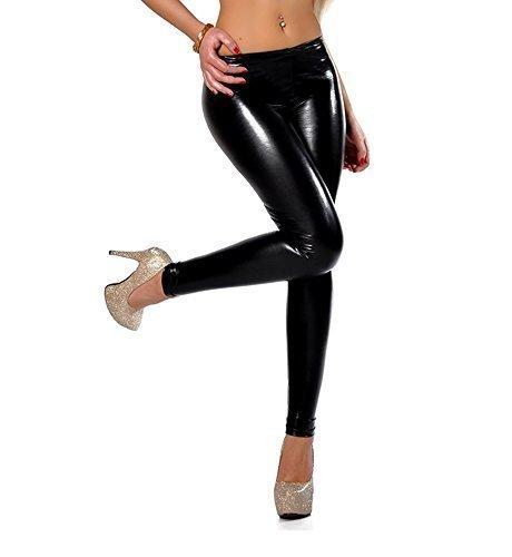elomoda Leggings Latex Look schwarz Lack Glanz Gr. 36 38 40 42 44 46 ,907 (S/36)