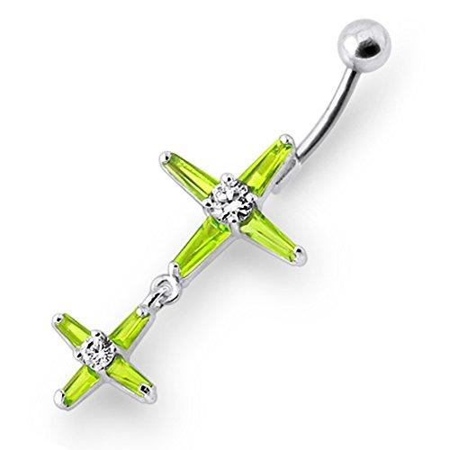 Bijou de Corps anneau de nombril en argent motif croix pierres fantaisies pendant Light Green